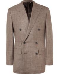 Thom sweeney brown slim fit double breasted slub wool silk and linen blend blazer medium 790711