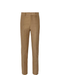 The Row Camel Mick Slim Fit Cotton And Cashmere Blend Moleskin Trousers