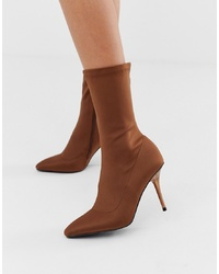 Missguided Heeled Sock Boot In Chocolate