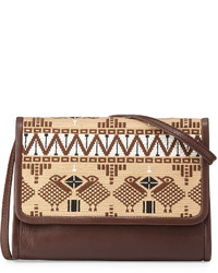 Brown Embroidered Leather Crossbody Bag