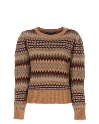 Brown Fair Isle Crew-neck Sweater