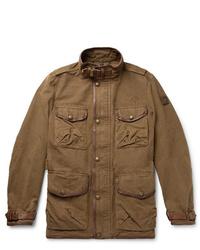 Belstaff Leather Trimmed Cotton Canvas Field Jacket