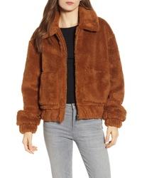Brown Fleece Bomber Jacket