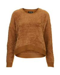 Brown Fluffy Crew-neck Sweater