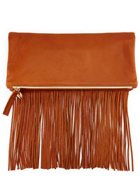 Clare v leather fold over fringe clutch bag tan medium 320258