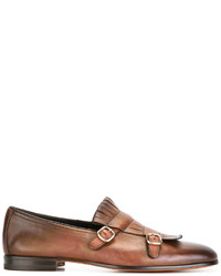 Brown Fringe Leather Loafers