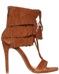 Brown Fringe Suede Heeled Sandals