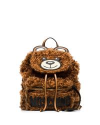 Moschino Brown Teddy Bear Shearling Backpack