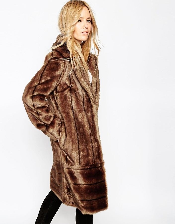 6c0a5098993 ... Asos Collection Coat In Vintage Longline Pelted Faux Fur ...
