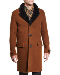Brown Fur Collar Coat