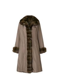 Liska Fur Contrast Trim Coat