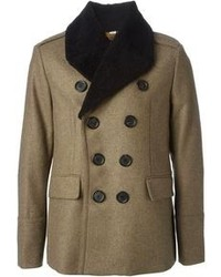 London faux fur trimmed collar double breasted coat medium 100469