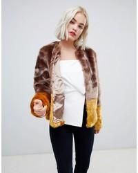 New Look Colour Block Faux Fur Coat Pattern