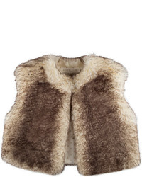 Pili Carrera Cropped Faux Fur Vest Ivorychocolate Size 4 6