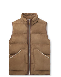 Tom Ford Shearling And Leather Trimmed Quilted Suede Gilet