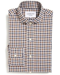 Ledbury grove slim fit gingham dress shirt size 155 brown medium 442936