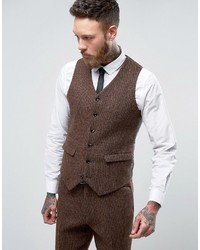 Slim suit vest in harris tweed check 100 wool medium 1314704