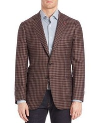 Brown Gingham Wool Blazer