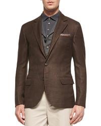 Glen plaid jacket brown medium 135975