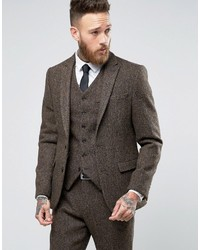 Brown Herringbone Tweed Blazer