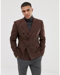 ASOS DESIGN Slim Double Breasted Cropped Herringbone Wool Mix Blazer In Rust