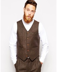 Asos Brand Slim Fit Vest In Herringbone
