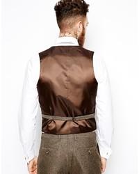 Asos Brand Slim Vest In Herringbone