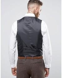 Asos Slim Vest In Brown Herringbone