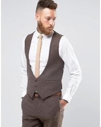 Slim vest in brown herringbone medium 840282