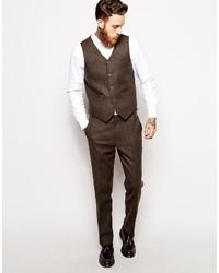 Asos Slim Vest In Herringbone