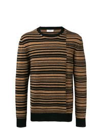 Brown Horizontal Striped Crew-neck Sweater
