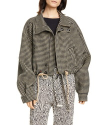 Brown Houndstooth Bomber Jacket
