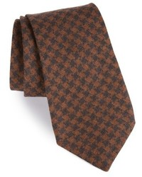 Brown Houndstooth Wool Tie