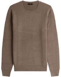 Brown Knit Crew-neck Sweater