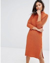Boohoo Roll Neck Knitted Sweater Dress