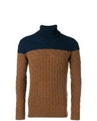 Eleventy Two Tone Cable Knit Sweater
