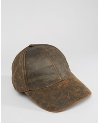 Asos Baseball Cap In Distressed Faux Leather Finish