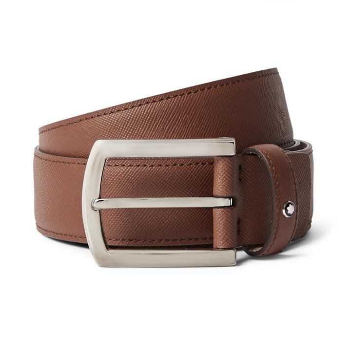... Montblanc 35cm Brown Textured Leather Belt ...