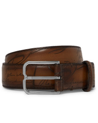 Berluti 3cm Brown Scritto Leather Belt