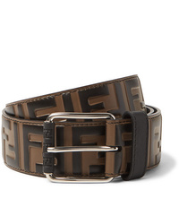Fendi 4cm Brown Logo Embossed Leather Belt