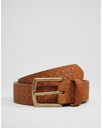 Asos Brand Leather Belt With Emboss
