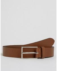 Asos Brand Smart Leather Belt In Tan