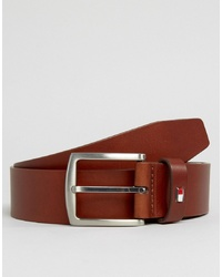 Tommy Hilfiger Denton Flag Logo Leather Belt In Tan