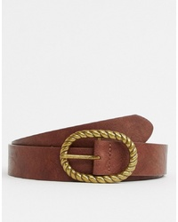 ASOS DESIGN Faux Leather Slim Belt In Vintage Tan And Burnished Gold Oval