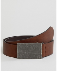 ASOS DESIGN Faux Leather Wide Belt In Brown With Burnished Plate