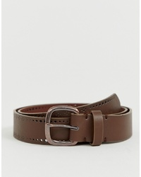 ASOS DESIGN Faux Leather Wide Belt In Brown With Edge Design