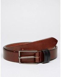 Asos Leather Belt With Contrast Keepers