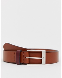 ASOS DESIGN Leather Slim Belt In Tan With Contrast Burgundy Keeper