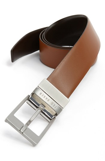 ... Ted Baker London Reversible Leather Belt Tan Dark Brown 38