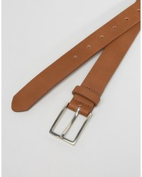 Asos Smart Slim Belt In Tan Faux Leather